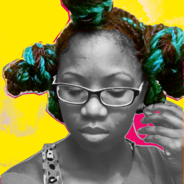 Black woman with multicolored Senegalese twists in 3 buns