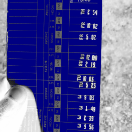 time card colored blue