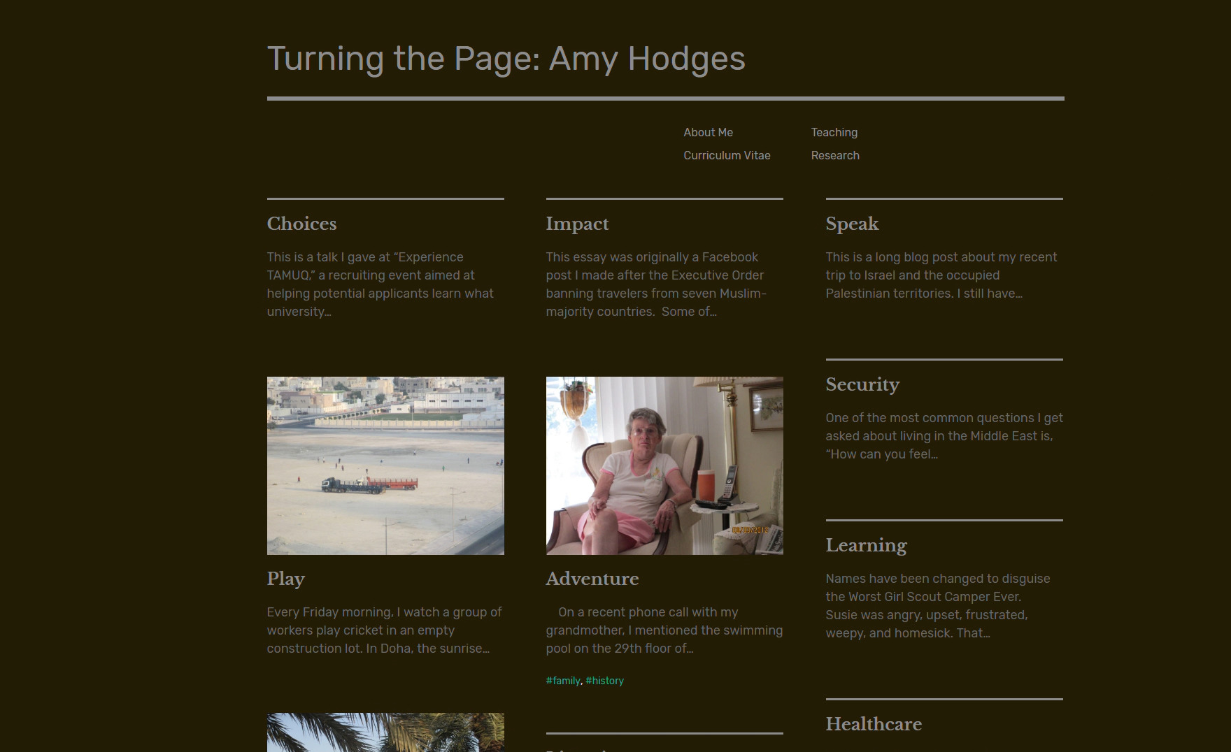 screenshot of Amy Hodges old blog site