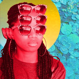afro surreal image of Black woman with 3 sets of eyes and ears and a halo on patch of clovers