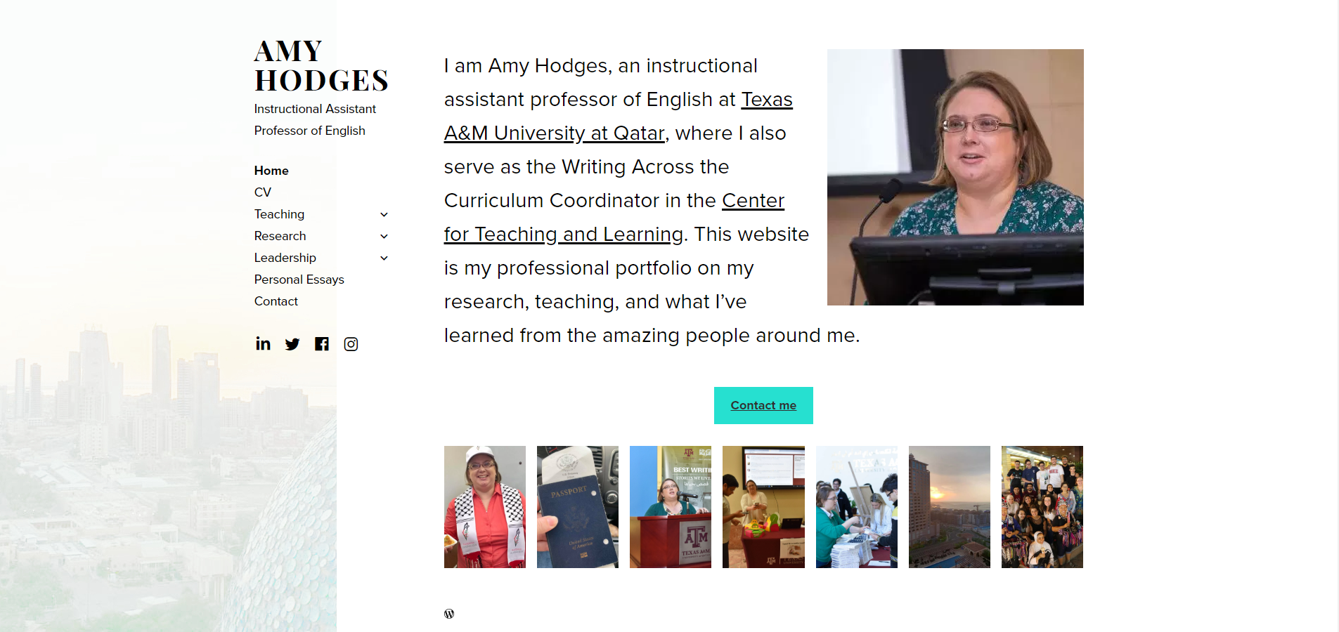 Screenshot of Amy Hodges website