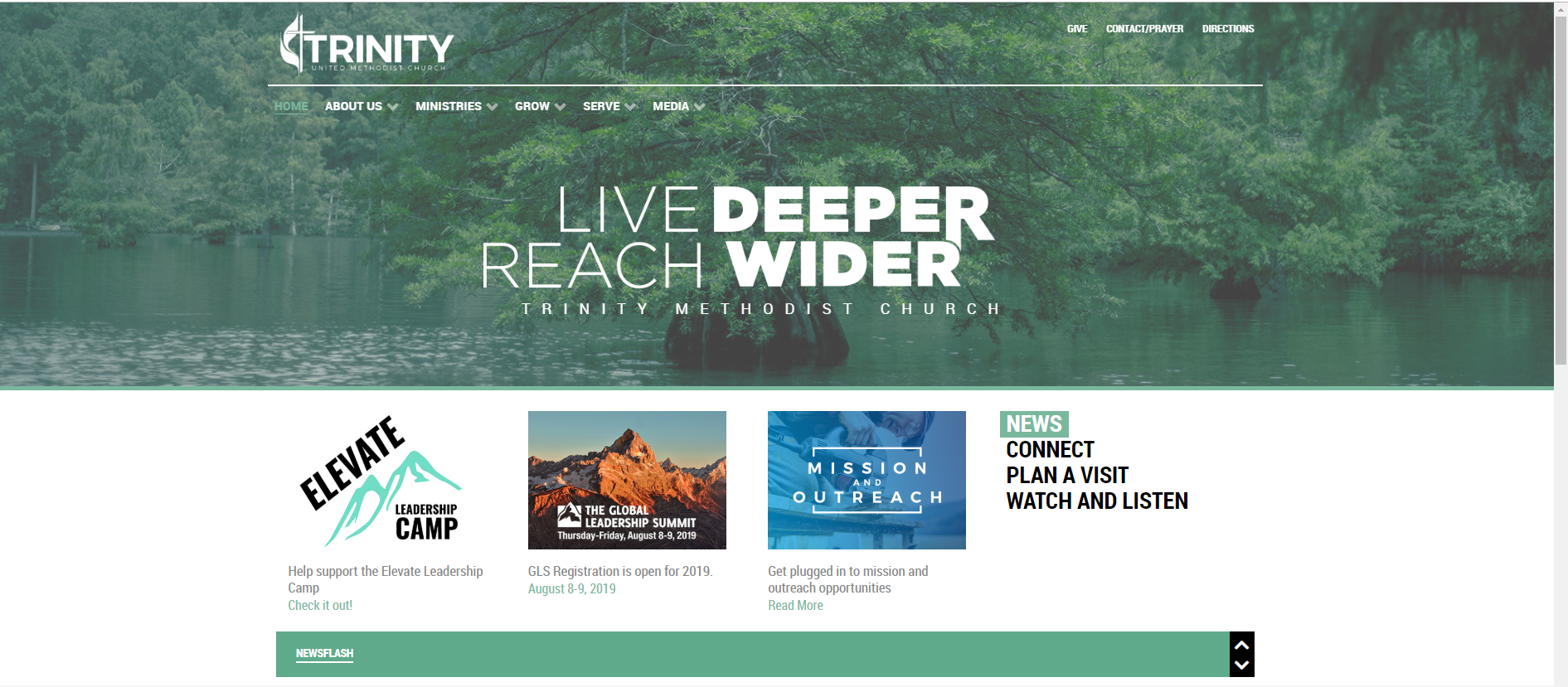screenshot of Trinity United Methodist Church website with Elevate Leadership Camp link on front page