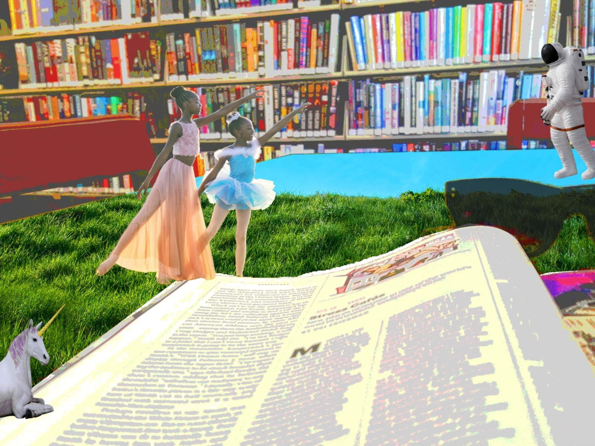 An open magazine, sunglasses, unicorn, 2 Black ballerinas, and an astronaut on a table of grass and sky with library shelves in the background