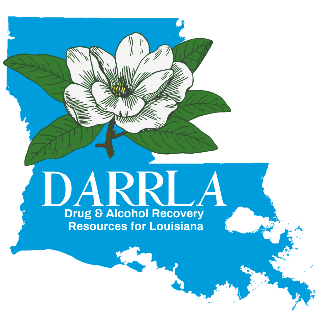Blue outline of louisiana behind a magnolia and DARRLA acronym and name